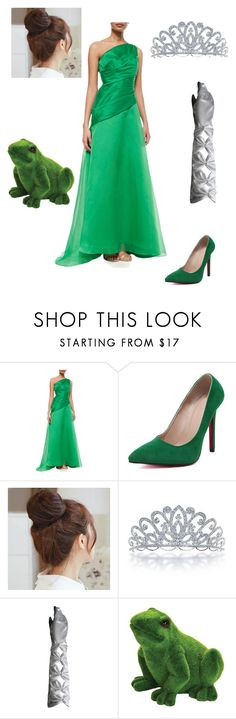 """""""Princess and the Frog"""" by caple-j ❤ liked on Polyvore featuring ML Monique Lhuillier, WithChic, Pin Show, Bling Jewelry and Exhart"""