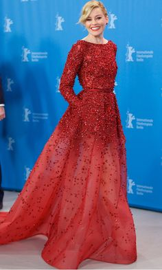 Elizabeth Banks looked picture perfect in a gradiant red Elie Saab dress at the Love And Mercy photocall.