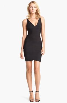 Herve Leger V-Neck Bandage Dress available at #Nordstrom. Saving for it.