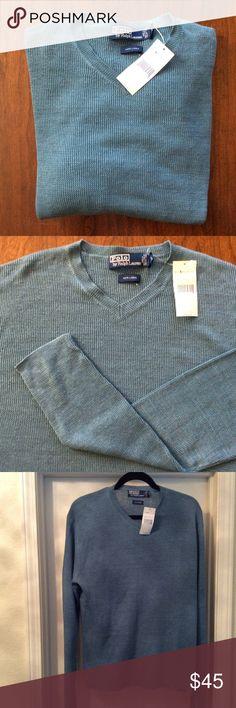 Ralph Lauren Linen Sweater Clean, modern v-neck sweater  made in Hong Kong of Italian knit yarn. Sharp, light teal green color. Polo by Ralph Lauren Sweaters V-Neck