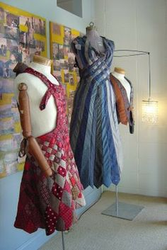 Sewing For Men Dapper: Art, Front and Center: Tie dresses by Larry Baumiller Diy Clothing, Sewing Clothes, Recycled Clothing, Moda Fashion, Diy Fashion, Old Ties, Tie Crafts, Mens Ties Crafts, Tie Quilt