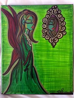 "Painting: 'Green Fairy' 8 x 10"" canvas (Free shipping!) by AlabasterandObsidian on Etsy"