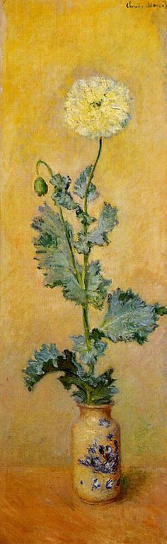 White poppy by Claude Monet. Wonderful vertical composition, the lower diagonal of the leaves at the golden section balances the height. Notice the zig-zag movement.
