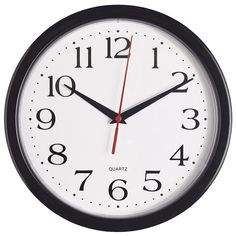 Bernhard Products - Black Wall Clock, Silent Non Ticking Quality Quartz Battery Operated 10 Inch Round Easy to Read Home/Office/School Clock