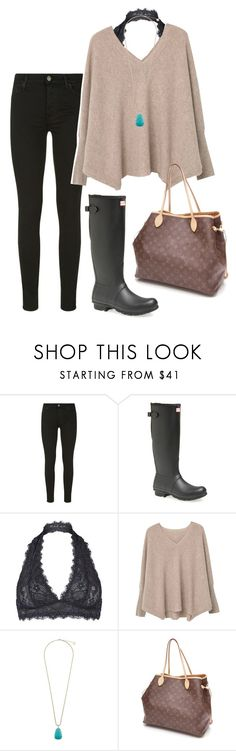 """rainy day"" by prep-lover1 ❤ liked on Polyvore featuring 7 For All Mankind, Hunter, Free People, MANGO, Kendra Scott and Louis Vuitton"