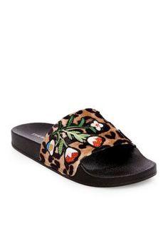 c36cbdabe42c8d Steve Madden Leopard Multi Patches Slide Sandal Flat Sandals