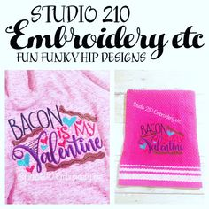 Bacon is my Valentine. I am in 💜LOVE 💜with this design! Do you have a love affair with 🥓 like I do? Towel and dishrag to accessorize the kitchen. This design is available for clothing, accessories and home decor.  #studio210etc #bacon #baconlife