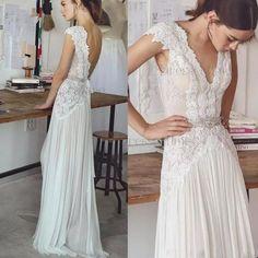 A-Line V-Neck Floor-Length Ivory Chiffon Boho Wedding Dress with Beading Lace