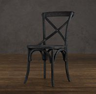 Restoration Hardware's Madeleine Side Chair :Modeled after the most popular café chair in Europe, our versatile X-back dining chair pays homage to the bentwood tradition popularized by Thonet in 19th-century Austria. Handsomely distressed with a weathered finish.