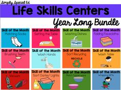 Life Skills Centers: Year Long Life Skills Bundle Start your new year off by implementing a life skills center in your life skills or autism classroom. Teach your students one skill a month for 12 months and send them off with 12 solid skills! Life Skills Lessons, Life Skills Activities, Teaching Life Skills, Preschool Life Skills, Teaching Vocabulary, Teaching Tools, Teaching Ideas, Life Skills Classroom, Autism Classroom