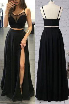 Black Prom Dresses, Two Piece Prom Dresses, Simple Black Two Pieces Long Cheap Modest Prom Dresses Party Dresses #promdresseslong #sexypromdresses #twopiecepromdresses #partydresses