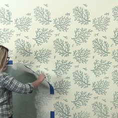 Nautical Stencils & Decor Get a trendy coastal wallpaper look on a budget with nautical wall stencil Wall Print Design, Wall Stencil Designs, Large Wall Stencil, Stencil Decor, Wall Stencil Patterns, Stencil Painting On Walls, Diy Wall Painting, Stenciling, Coastal Wallpaper