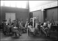 The Birger Sandzén Memorial Gallery - A painting class in the Swedish Pavilion at Bethany College.