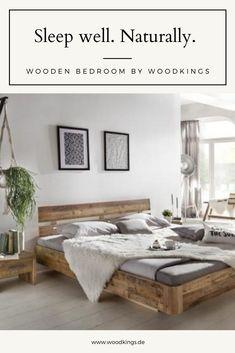 Wie man sich bettet, so liegt man. An diesem Spruch ist auf jeden Fall was dran, denn alles, was im Schlafzimmer steht, hat einen mehr oder weniger großen Einfluss auf unseren Schlaf und somit auf eine wesentliche Phase in unserem Alltag. Also lassen Sie uns gemeinsam ein wenig Ruhe reinbringen ... #bedroom #schlafzimmer #bett #holzbett #bettbauen Decor, Furniture, Wooden, Home Decor, Wooden Bedroom, Bed, Bench, Bedroom, Entryway Bench