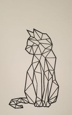 Cat steel, interior decoration, industrial style, decoration on the wall Geometric Shapes Art, Geometric Drawing, Geometric Cat Tattoo, Geometric Animal, Geometric Embroidery, Art Drawings Sketches, Easy Drawings, Chat Origami, Tape Art