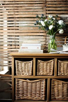 Click the image to read the full article of PIN to save for later! Wicker Chest, Books, wicker, farmhouse, exposed wall, thistles, roses