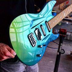Aristides 060 Blue/Green Chameleon loaded with Mojo Lipsticks and a @bareknucklepickupsofficial Aristides Custom! #aristides #060 #mojo #bareknucklepickups by aristidesguitars