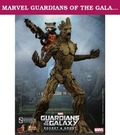 """MARVEL GUARDIANS OF THE GALAXY 15"""" GROOT & 6"""" ROCKET. Marvel studios is expanding the Marvel Cinematic Universe and bringing fans to the cosmos in the action packed space adventure - Guardians of the Galaxy. A Group of two thugs, an outlaw, an assassin and a maniac will team up to battle evil and save the galaxy! Sideshow Collectibles and Hot Toys are excited to present the special Rocket and Groot Sixth Scale Figure Set which includes the gun-toting raccoon and his personal..."""