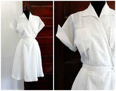 Vintage 1950s nurse dress . Nurse Nightengale . 40s / 50s white nurse uniform . white plisse dress by VoyeurVintage on Etsy