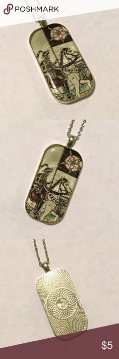 """""""Death"""" Tarot card necklace One of a kind necklace made with real tarot card.  Decent used condition.  Silver plated setting and chain, resin cabochon. Jewelry Necklaces"""