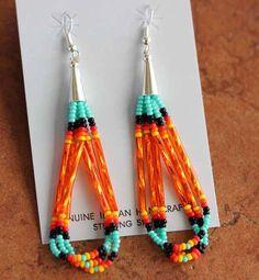 Native American Jewelry - Navajo Handmade Sterling Silver Beaded Earrings