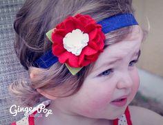 4th of July Felt Flower Headband 100 Wool by GingerpopBoutique