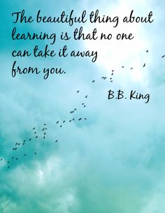 This is an inspirational poster featuring a quote by B. B. King. It can be used to decorate a classroom or simply to share with and encourage fellow educators!