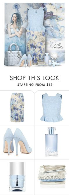 """""""Blue Floral Pencil Skirt"""" by debraelizabeth ❤ liked on Polyvore featuring M&Co, Erdem, Piel Leather, Dee Keller, Orlane, Nails Inc., Forever New and Miadora"""