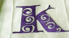 Swirl  Font Burp Cloth Baby Embroidery Cloth Green Minky Polka Dot Ribbon #design #Embroidery