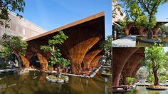 Vietnam waterside cafe with bamboo.