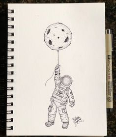 Float to the moon #simpleink #moon #astronaut