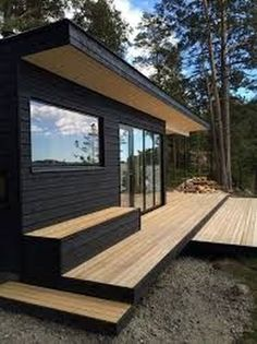 6 Effortless Tricks: Minimalist Home Exterior Woods minimalist home office awesome.Minimalist Interior Concrete Living Rooms bohemian minimalist home decor.Bohemian Minimalist Home Decor. Black House Exterior, Cafe Exterior, Craftsman Exterior, Garden Buildings, Garden Houses, Backyard, Patio, Types Of Houses, House In The Woods