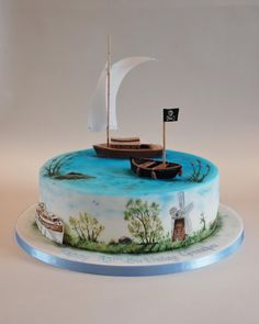 Coot club, sailing boat, hand painted cake