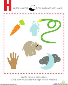 H is for hat! Kids completing this prekindergarten reading worksheet circle the pictures that begin with an H sound. This worksheet is great phonics practice.