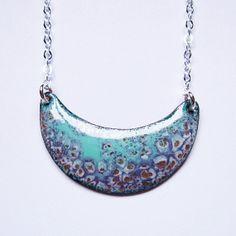 Iris lavender aqua moon crescent necklace, enamel bohemian jewelry, art deco pendant minimalist