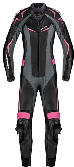 Spidi makes leather motorcycle racing suits designed specially for women. Here is the Spidi Sport Women's Mantis Wind Pro 1 Piece Leather Suit in black in pink. Who says you can't wear pink on the track?!