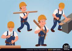 Cartoon carpenters vector characters