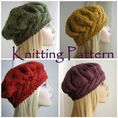 Knitting Pattern Tam Cable Beret Womens Hat PDF. A flattering style women's hat. This beret knits up quickly in chunky weight yarn. The headband is knitted first to fit the head size. Then stitches are picked up from along the edge to make the crown which is knitted in the round on double pointed needles.