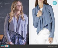 Ali's blue draped leather jacket on Pretty Little Liars. Outfit Details: https://wornontv.net/59259/ #PLL
