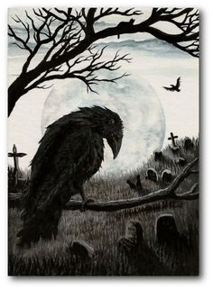 Black Cat Society - Watchful Eye of the Cemetery Warden - Raven Crow ACEO Print ArT by AmyLyn Bihrle. $7.99, via Etsy.