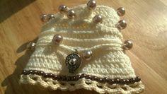cream-coloured bohemian crochet bracelet unique by ViktoriaCrochet