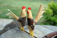 Made these roosters from small branches and a knife. By Jim Owens.  Inspired by the book Whittling Twigs & Branches, 2nd Edition: Unique Birds, Flowers, Trees & More from Easy-to-Find Wood by Chris Lubkemann