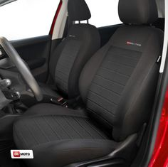 PEUGEOT 3008 FABRIC CLOTH RED TRIM FRONT PAIR CAR SEAT COVER SET