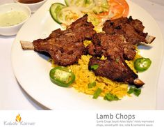 LAMB CHOPS                             . Lamb Chops South Asian style , richly marinated Chops, served with rice, raita & tarmarind sauce.