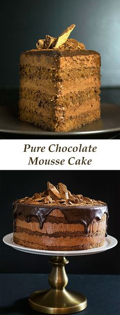 Pure chocolate mousse cake – Torte This chocolate mousse cake has a pure, real chocolaty taste and it's so decadent like . Köstliche Desserts, Chocolate Desserts, Delicious Desserts, Cake Chocolate, Plated Desserts, Chocolate Mousse Cake Filling, Chocolate Smoothies, Chocolate Mouse, Chocolate Shakeology