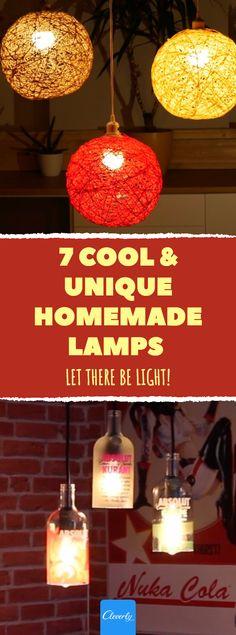 7 Cool & Unique DIY Lamps | #diy #crafts #lamp #light #diycrafts #diyprojects #pinterestcrafts #homehacks #lifehacks #homemade #homemadelamp #lampshade Creative Lamps, Creative Crafts, Diy Crafts, Diy Luminaire, Diy Lampe, Bedroom Lamps, Diy Bedroom Decor, Home Decor, Homemade Lamps