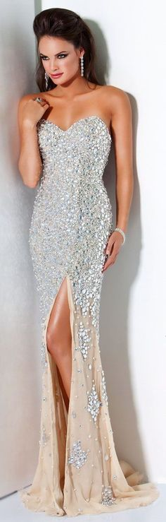 Handmade Full Beaded Silver Stones Sexy Champagne Mermaid Evening Prom Dresses With Slit in Front beaded evening dresses,beading prom dresses,sexy prom dress,Mermaid evening gowns
