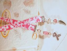Awearness BookmarkCamo Ribbon Glass Beads  Pink by CKDesignsUS, $10.50