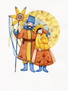 Christmas costumes of Ukraine by Yevheniia Haidamaka, via Behance Ukrainian Christmas, Folk, Ukrainian Art, Christmas Costumes, Book Images, My Heritage, All Art, Illustrators, Nativity