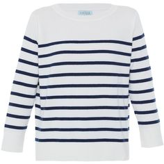 Hania by Anya Cole Striped Cashmere Sweater ($550) ❤ liked on Polyvore featuring tops, sweaters, shirts, jumpers, stripes, crew neck sweaters, striped shirt, crew neck shirt, striped sweater and navy shirt